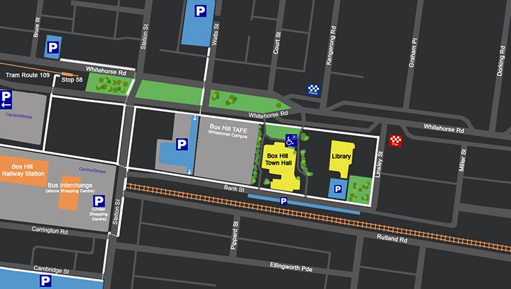 Box Hill Town Hall Parking Map